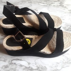 New Rag & Bone Suede Black Platform Sandals